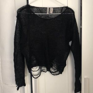 H&M Black Sheer Knit Ripped Top